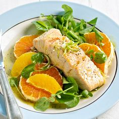 Poached Salmon on Citrus Salad ~ A tangy, five-ingredient dressing adds delicious flavor to this healthy salmon recipe--and it's ready in 20 minutes.
