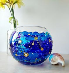 Your place to buy and sell all things handmade Painted Glass Vases, Glass Paint, Glass Planter, Planter Pots, Hand Painted Walls, Constellation, Candle Holders, Diy Projects, Desk