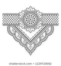 Mehndi flower ornamental pattern and border for Henna drawing and tattoo. Decoration in ethnic oriental, Indian style. Mehndi flower ornamental pattern and border for Henna drawing and tattoo. Decoration in ethnic oriental, Indian style. Tatoo Henna, Henna Tattoo Designs, Henna Art, Tribal Henna, Designs Mehndi, Mandala Doodle, Henna Mandala, Mandala Drawing, Arte Mehndi