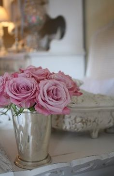 pink roses, mint julep cup