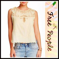 """❗1-HOUR SALE❗FREE PEOPLE Boho Crochet Tank Top FREE PEOPLE Boho Crochet Tank Top RETAIL PRICE: $78 💟 NEW WITH TAGS 💟 SIZING- L = 10-12 * Crew neck w/crochet net yoke * Embroidered eyelet & scalloped edge details  * Pullover style  * Tank, sleeveless, & slightly cropped silhouette * Scalloped hem; Approx 23"""" long Fabric: 100% cotton Color: Yellow Item#FP92100 # crop cold shoulders  🚫No Trades🚫 ✅ Offers Considered*✅ Bundle Discounts ✅ *Please use the blue 'offer' button to submit an offer…"""