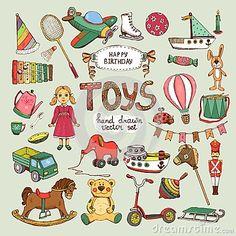 happy birthday toys set: pinwheel balloon elephant horse Illustration , happy birthday t Christmas Villages, Christmas Toys, Horse Illustration, Cartoon Toys, Christmas Characters, Pull Toy, Kids Branding, Toys Shop, Art Design