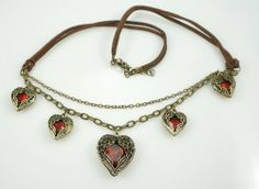 Origin Creation®Antique Fashion Red Gemstone 5 Hearts Love Pendant Necklace Angel Wing with Brown Leather Cord Chain Origin Creation Fashion Necklace. $10.99. An imitation ruby embedded stands for the heart. Great gift for your love. Length:50 cm Lobster claw clasp with 5 cm extender. Angle wings embracing the heart. Fashion Vintage Jewelry. Save 61%!