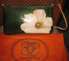 Sharif Hand Painted Green Leather Purse Cream Flower Suede Tassel Shoulder/Cross #Sharif #MessengerCrossBody