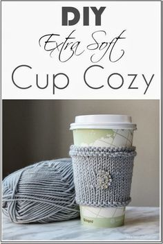 Make this quick and easy DIY Extra Soft Knitted Cup Cozy! This is a beautiful gift idea and fun yarn craft to make! See the knitting tutorial and supply list! Knitting Projects, Crochet Projects, Knitting Patterns, Craft Projects, Sewing Projects, Knitting Ideas, Yarn Crafts, Diy And Crafts, Creative Crafts