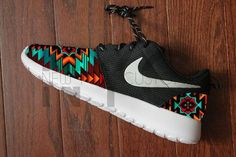 Nike Roshe Run Black Anthracite Aztec Tribal Print V5 by NYCustoms