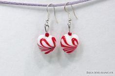 Boucles d'oreilles Blanc Et Rouge Zebrée. Osez la couleur #BijouxMurano #Murano - BijouxMurano.fr