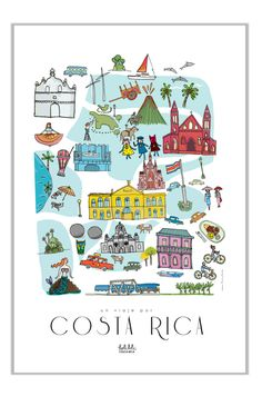 Poster of places of Costa Rica by ElCajoncito on Etsy Costa Rica Art, Voyage Costa Rica, Costa Rica Travel, Wild Life, My Family Photo, Cities, Monteverde, Vintage Travel Posters, Country