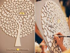 Custom Wedding Guest Book Alternative - Wedding Tree Guest Book - Wood Rustic Wedding Guest Book - Tree Of Hearts - CUTIE POP 110 Hearts I love this idea of a wedding tree as a keepsake for after the wedding. Tree Wedding, Wedding Wishes, Diy Wedding, Wedding Reception, Wedding Day, Wedding Blog, Wedding Rustic, Wedding Favors, French Wedding