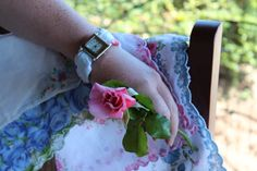 "My first Etsy product! SOLD in less than 24 hours. Yay for me! Sweet Hankie Watch, called a ""Swanky"". Thought you'd like to see... I match a new watch face with a laundered vintage hanky for a lovely way to tell time. via Etsy"