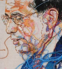 portrait embroidery by Lauren DiCioccio Contemporary Embroidery, Modern Embroidery, Embroidery Art, Thread Painting, Thread Art, Painting Art, Watercolor Painting, Portrait Embroidery, A Level Textiles