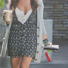 Layering dress with tshirt, chunky cardigan. With black tights and flats or boots for winter.