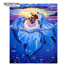 Diamond Painting Diy Cross Stitch Dolphin Lover Animal Family Full Rhinestone Square Drill Rhinestone Pasted Painting BJ326 #Affiliate