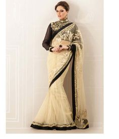 Cream Net Embroidered Sarees from Stylelok Ethnic style black & cream color saree for special occasions & family functions. #sarees #fashion #black