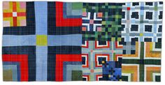 """Eleanor McCain - Art Quilts  9 Patch color Study 3 – 2007  Private collection of Mark Richard Leach      """". . . 9 Patch Color Study 3 is remarkable, even irresistible for even as the artist has selected a very traditional quilting design, her improvisational approach to cropping, scale, coloration and repetition have resulted in a dramatic and visually compelling art work.""""        --- Mark Richard Leach"""