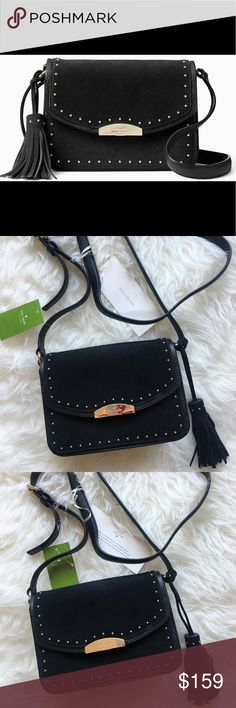 NWT Kate Spade Crossbody Bag New with tags. suede with leather trim Fringe  tassel x x drop length  crossbody with flap lock closure interior slide  pocket ... d24efeab2f2ff