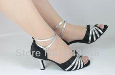 2014 The New Fashion Black satin Silver PU women's Latin dance shoes  Ballroom dancing shoes  Salsa samba  Tango shoes 7.5cm 6cm $33.96