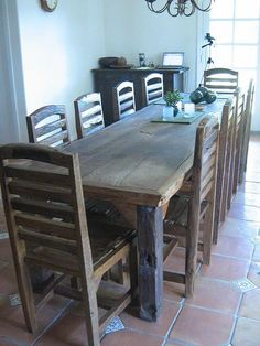DIY Wooden Table with Chairs - Rustic Solid Furniture - InfoBarrel Images