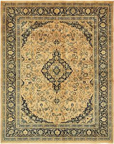 This Semi-Antique Authentic Persian Kashan rug is <strong>Hand Knotted in Iran</strong> of 100% Natural Wool and has <strong>150 knots</strong> per square inch. Colors found in this rug include: Peach, Blue, Cream, Light Blue, Olive, Light Green, Navy Blue. The primary color is Peach. This rug is in excellent condition. The measurements for this rug are: 9 feet 10 inches wide by 12 feet 6 inches long.