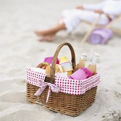 Make your own picnic basket for a friend with cute glass bottles and yummy goods