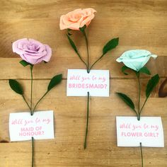 Proposal ideas for your bridesmaids, flower girls and maid of honours. Hand made paper flower in your choice of colour and personalised message. Bridesmaid Flowers, Wedding Flowers, Bridesmaids, Best Places To Propose, Forever Flowers, Paper Bouquet, Wedding Proposals, Special Girl, Will You Be My Bridesmaid