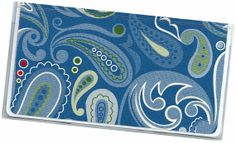 Checkbook Cover  Blue Green Red Floral Paisley by rabbitholeonline, $6.25