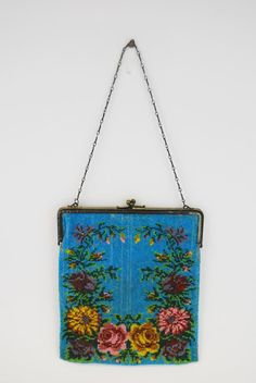 Large Floral Decorated Mesh Purse