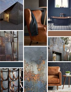 Masculine Rough Textured Mood Board with architecture leather rust metal steel copper and other industrial elements. Navy and Bronze colors. Designed by Red Wheel Social. Made for a property investment firm in Chicago as part of branding project a Blue And Copper Living Room, Copper Room, Navy Living Rooms, Navy And Copper, Copper Decor, Living Room Decor, Copper Metal, Copper Colour Palette, Color Cobre