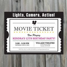 Movie Birthday Invitation  Printable Digital by CharliesPrintables, $12.00