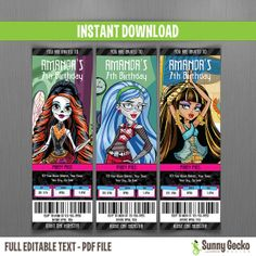 Monster High Birthday Ticket Invitations (Set 2) by SunnyGeckoDesign, $10.00