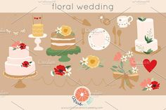 Wedding Clip Art .png files by Citrus and Mint on @creativemarket
