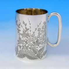 d07712503c21 Antique Sterling Silver Christening Mug - Henry Atkins Hallmarked In 1907  Sheffield - Edwardian Gold Glass