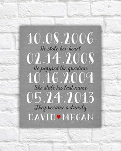 Family Sign, He Stole Her Heart, She Stole His Last Name, We Became a Family - 8x10 Art Print, Family Dates, Important Date Art, Anniversary The Wedding Date, Wedding Gifts, Thing 1, Family Print, Newlywed Gifts, Framed Prints, Art Prints, Family Signs, Important Dates