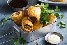 All-new Aussie sausage rolls Healthy Sausage Rolls, Homemade Sausage Rolls, Ceviche, Australian Beef, Australian Recipes, Australian Sausage Rolls Recipe, Vegetarian Starters, Vegan Vegetarian, Sauces