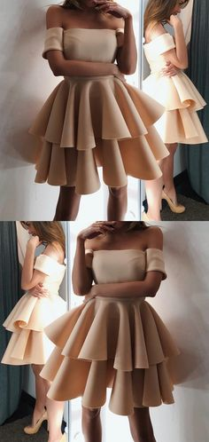 Cute A-line Off The Shoulder Ruffles Homecoming Dresses Short Champagne Prom Dresses 2018 For Birthday Party