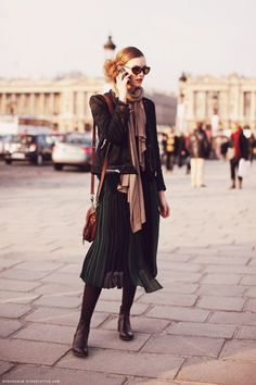Winter Symphony ~ Emerald pleated midi skirt, leather jacket, ankle boots & touches of tan & taupe