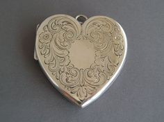 Large Victorian Sterling Silver Heart Locket from rmcantiques on Ruby Lane