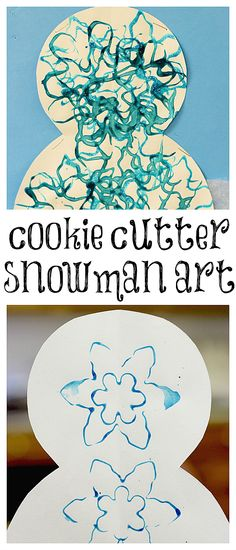 Cookie Cutter Snowman Art from www.fun-a-day.com - Super easy, and fun, winter art for the kiddos