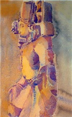 Sculpture study water colours by Anita Mukherjee