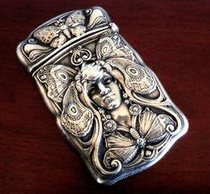 Gorham Butterfly Woman Sterling Silver Match Safe Vesta Box Nouveau Victorian | eBay