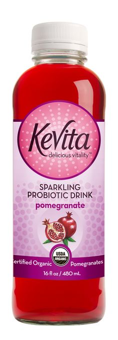 A perfectly balanced blend of pomegranate, KeVita Probiotic Culture and purified reverse osmosis water. Pomegranate KeVita is certified organic, non-GMO.
