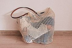 CROCHET TOTE-BAG Market Tote Bag Handmade with leather shoulder handles by WhiteSheepShop