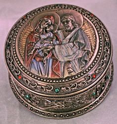 Holy Family Jesus Mary and Joseph Rosary or Prayer keeper Box Veronese Collection