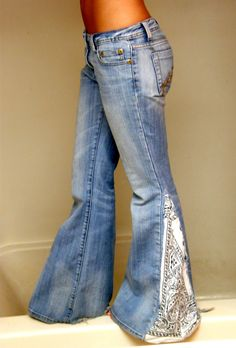 Bandana jeans...{{cute idea,I would use darker wash jeans with a blue and white bandana}}