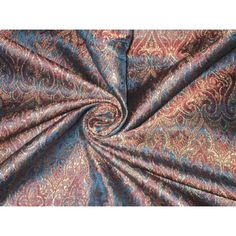 """100% Pure Silk Brocade Fabric Pretty Blue 44""""*"""