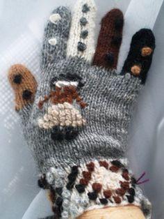 Vintage Wool Knit Womens Gloves Polka Dot Brown by BagsnBling, $5.99