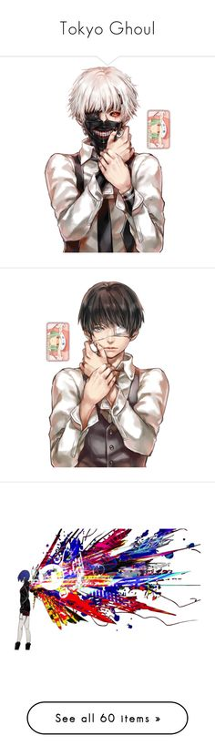 """""""Tokyo Ghoul"""" by chibi-space-gal ❤ liked on Polyvore featuring anime, tokyo ghoul, manga, transparent, figures, home, home decor, wall art, animal wall art and accessories"""