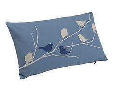 Cojín de algodón, azul y beige - 50x30 cm
