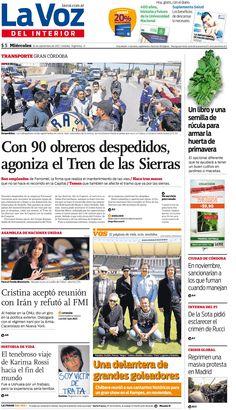 En la tapa de hoy: El Tren de las Sierras, sin obreros en la vía. http://www.lavoz.com.ar/ciudadanos/tren-sierras-sin-obreros