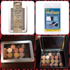 DIY Z Palette under $8! Metal tin ($4 with coupon at JoAnn Fabric), magnetic sheet with adhesive back ($3 with coupon JoAnn fabric). Place magnetic sheet in the tin and you are done! This magnetic sheet fits perfectly. Fits more shadows than a medium Z Palette that costs $20!